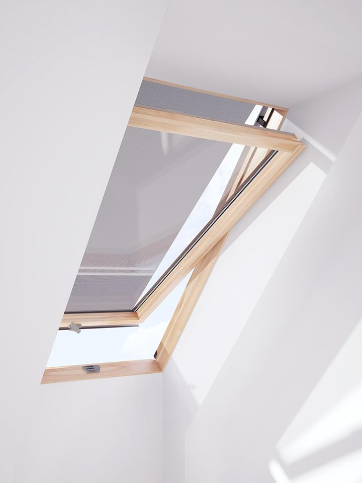 Awning blind for LuXtra roof windows is shielding the glass from the outside