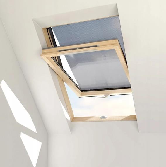 Anti-heat blind for Solstro roof windows is protecting room even when the window is open